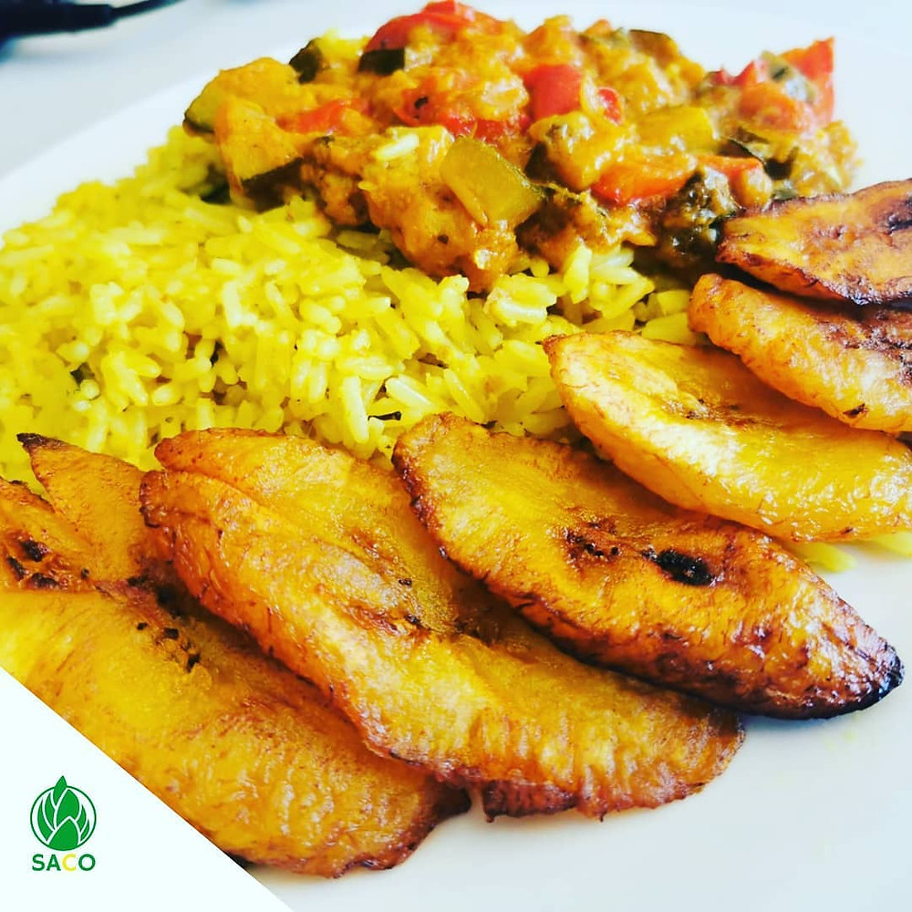 Baobab & Turmeric Rice served with vegetable stew and plantains