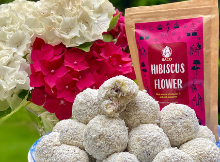 White Chocolate Coconut and Hibiscus Flower Truffles