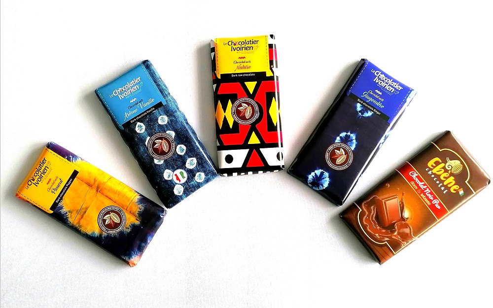 Selection of The Chocolatier Ivorien chocolate bars - image of saco superfoods