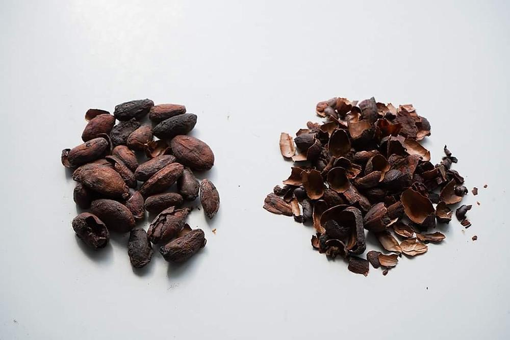 Cocoa nibs and cocoa shell - image courtesy of @kazekephotography