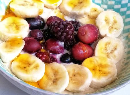 Banana Baobab Porridge with Forest Berries