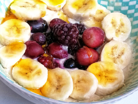 Banana Baobab Porridge with Forest Berries