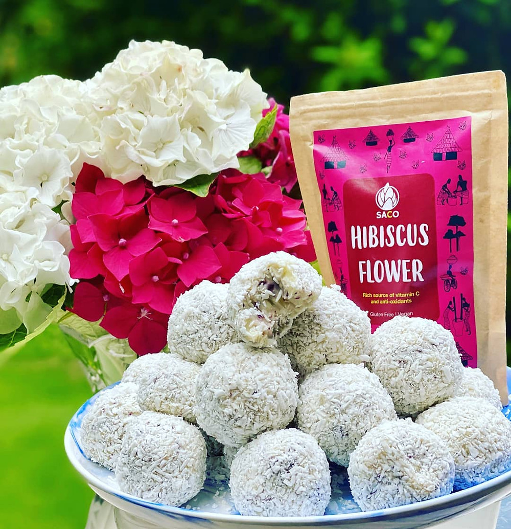 White Chocolate Coconut and Hibiscus Flower Truffles by @zarkitchen
