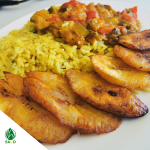 Baobab & Turmeric Rice recipe served with vegetable stew and plantains