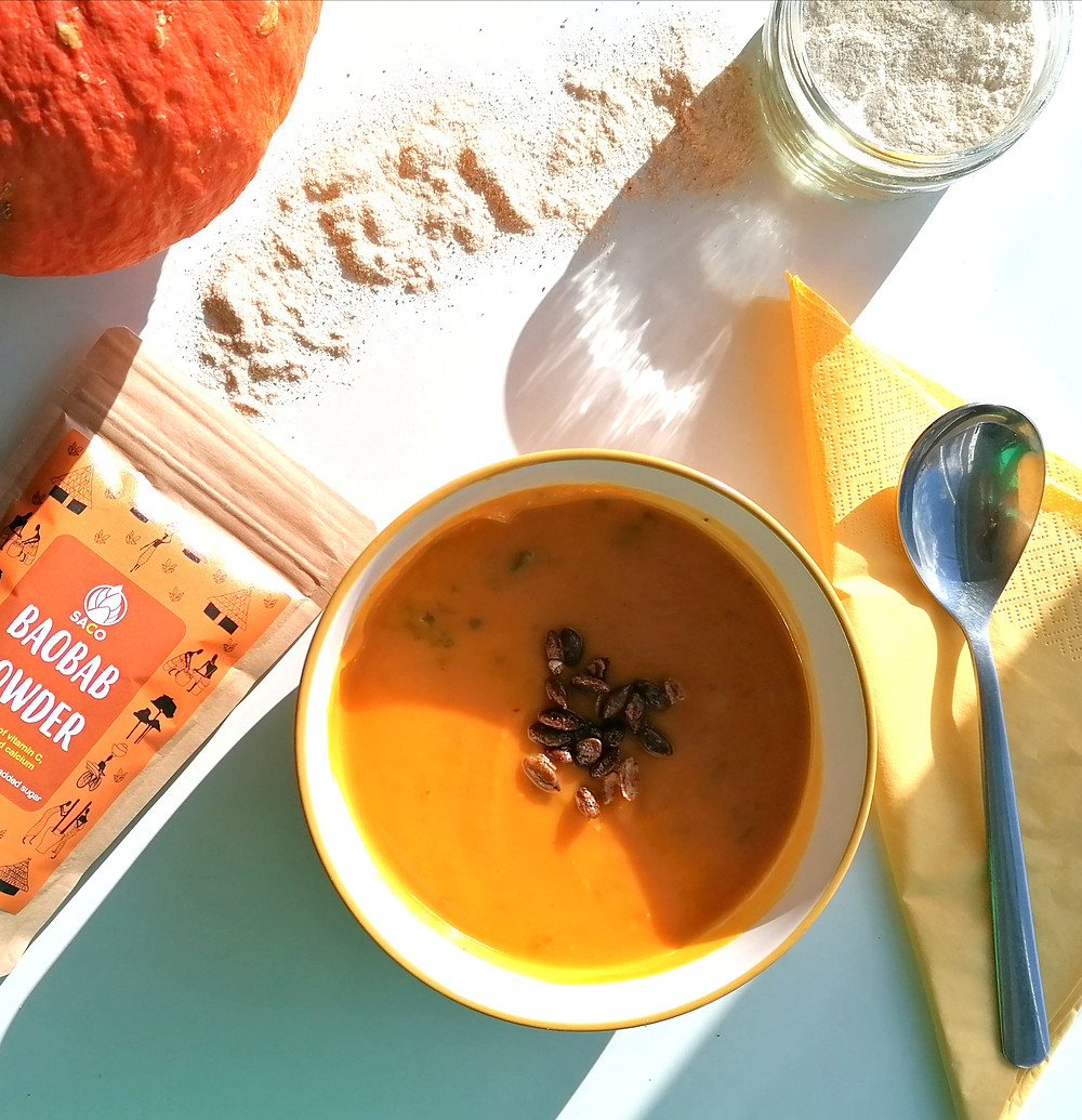 Pumpkin soup with a tsp of saco baobab powder and roasted pumpkin seeds