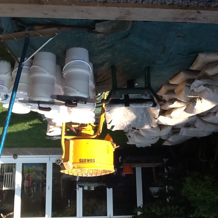 Materials and machinery set up prior to application of resin bound surface
