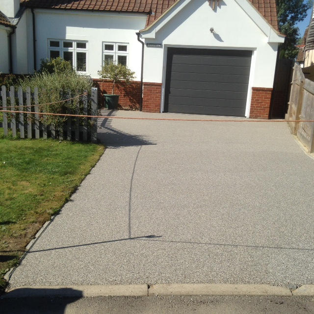 Driveway after application of silver moon colour resin