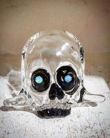 Crystal Skull with opal eyes