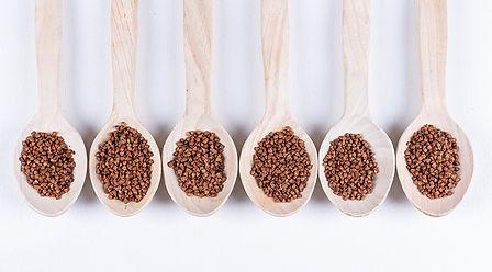 Buckwheat berries in wooden spoons