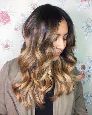 Custom balayage ombré on this babe! Kept the roots her natural color for an easy, low maintenance grow out and toned her ends to a nice neut