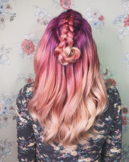 Still one of my favorite colors using #joico light purple and magenta at the base, pink with a dot on magenta on the mid-strand and toned wi