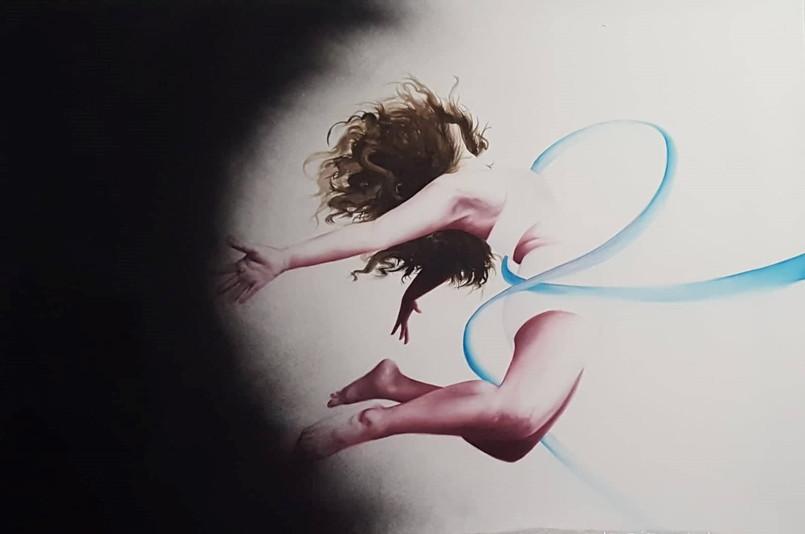 Chrisilia Philiastides Escape 150 x100 cmOil paint and spray paint on canvas