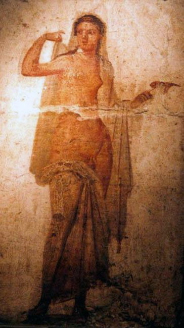 Hermaphroditus, detached Roman fresco from Ercolano, 1-50 A.D., now at the  National Archeological Museum of Naples, secret cabinet.
