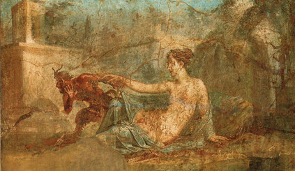 Pan and Hermaphroditus, detached Roman fresco from the House of the Dioscuri in Pompei, now at the National Archeological Museum of Naples, secret cabinet.