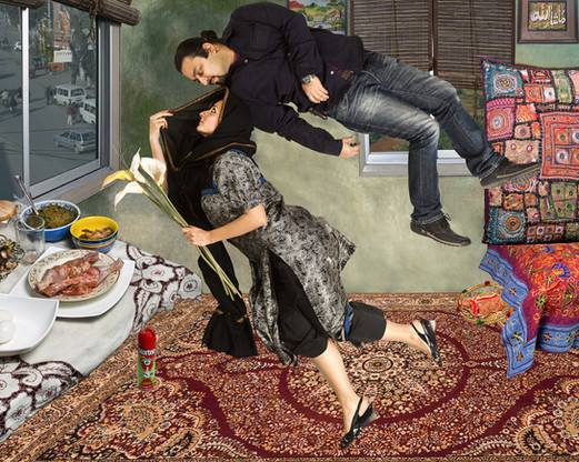 Unveiling the Visible,  2012 Giclee Print on canvas, edition of 3 114.5 x 66.5cm $2,800 AUD  A scene of domestic harmony is presented, with Hammad and her husband gazing at each other, in a composition appropriated after Chagall's The Birthday. While their marital bliss seemingly dominates the space, the image buzzes with personal and political signifiers that invites a deeper reading. The purdah (or veiling) that protects Hammad in the interior scene contrasts with the exposure of the urban scene outside; safety for women is not a given in public spheres. The title of the work was taken from Salima Hashmi's book of the same name which explores the pioneering art of Pakistani women across fifty years; practices that were almost indistinguishable from local craft, their impact and contribution to wider national or global scenes ignored on an official level, until recently. The sexual politics surrounding women operating in private and public spheres is at the centre of this powerful work. Look also to the mortein bottle that lies under the table (a reminder of of 2012 Dengue fever that ravaged Lahore) and the table laid with eid food as domesticity and urban life collide.