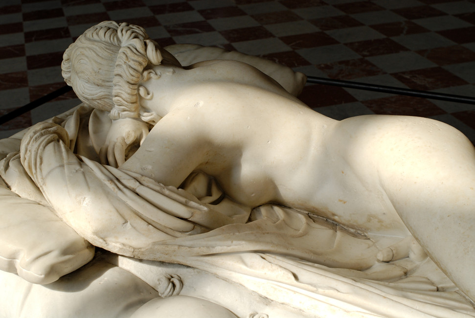 Sleeping Hermaphroditus (mattress realized by Gian Lorenzo Bernini in 1620), marble statue, II Century A.D., Louvre Museum, Paris.