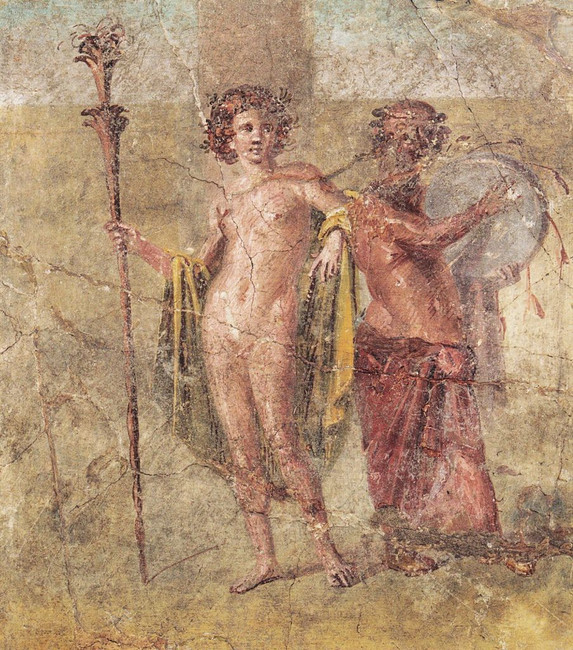 Hermaphroditus and Silenus, detached Roman fresco from the house of Cecilio Giocondo in Pompeii, 50-79 A.D, now at the National Archeological Museum of Naples.  Ph. Stefano Bolognini.