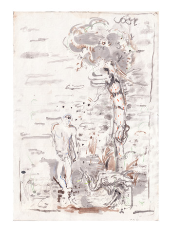 Giulio Catelli Ermafrodito e Salmace ink and watercolor on paper, 2020 51x35 cm €800