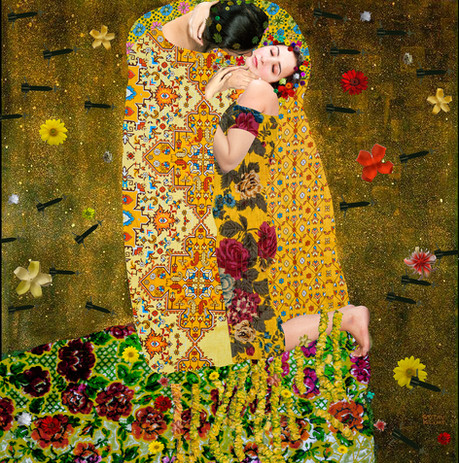 A Case of Exploding Mangoes, 2012 Giclee Print on canvas, edition of 3 60 x 60.5cm  Wrapped in traditional Pakistani textiles and surrounded by stylised missiles, Hammad's appropriation of Gustave Klimt's The Kiss captures the comfort of intimacy, the solace in companionship and the power of community in the face of wide unrest.The title, taken from Mohammad Hanif's fictitious tale surrounding the real life plane crash that killed the General Zia, who was president of Pakistan between 1977 - 1988, turbulence, suspicion and political unrest haunt this work.