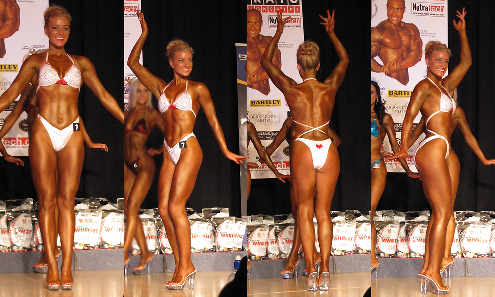 four photos of a Flexiwear shape client posing in her white posing suit
