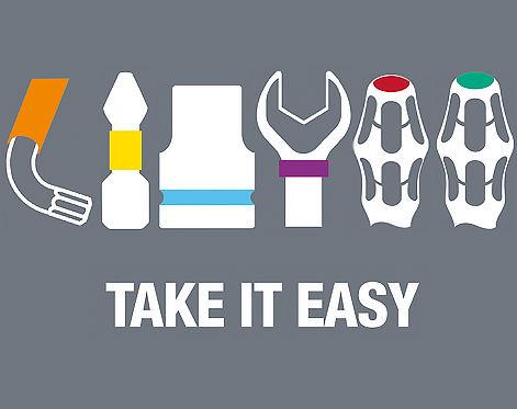 Le système Take it Easy e Wera utilise un code couleur qui permet de trouver facilemen et rapidement l'outil recherché. Ce système est utilisé pour les outils dynamométriques.