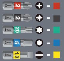 Le système Take it Easy adapté aux embouts se traduit par une bande horizontale juste en dessous de la tête d'embouts. A noter que la couleur a également un impact sur la forme.
