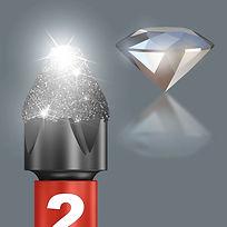 Les embouts diamantés réduisent les forces de rejet particulièrement élevées engendrées lors du vissage mécanique, susceptibles d'entraîner un dérapage hors de la vis.