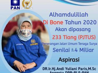 Bantuan Aspirasi, AYP Salurkan 233 Tiang PJUTS Di Kab Bone, Sulawesi Selatan
