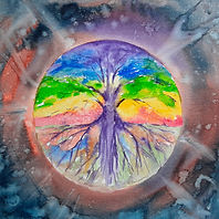 Watercolour expression, representing man, tree, colour in the eye of a storm