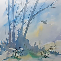 watercolour of owl in flight, trees soft colours