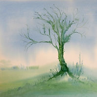 watercolour of a tree in landscape painted in soft tones