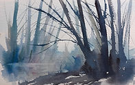 Watercolour, moody, washy impression of tree scene by water