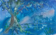 impressionistic watercolour of old tree in blue