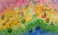 Musical notes against a rainbow coloured background