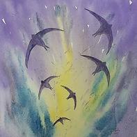 Original watercolour, impression of swifts in flight, soft tones,