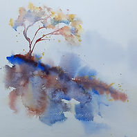original painting of a tree, loose washes, soft colours