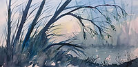 Watercolour with trees by a pond, still water