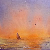 Setting sun, boat with red sail heading towards horizon