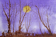 Watercolour of a purple sky, winter trees and the moon