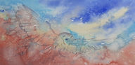 Orignal painting of barn owl in flight, loose washes