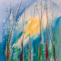 Impressionistic watercolour of light through trees