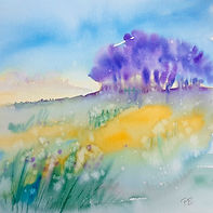 wet-in-wet watercolour, trees on a hill