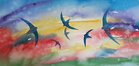 Colourful watercolour of swifts in flight