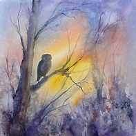 Watercolour of owl in tree at sunset