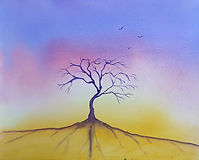 Watercolour, medatative scene with a single tree in a colourful background