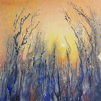 impressionistic painting sunset through grasses