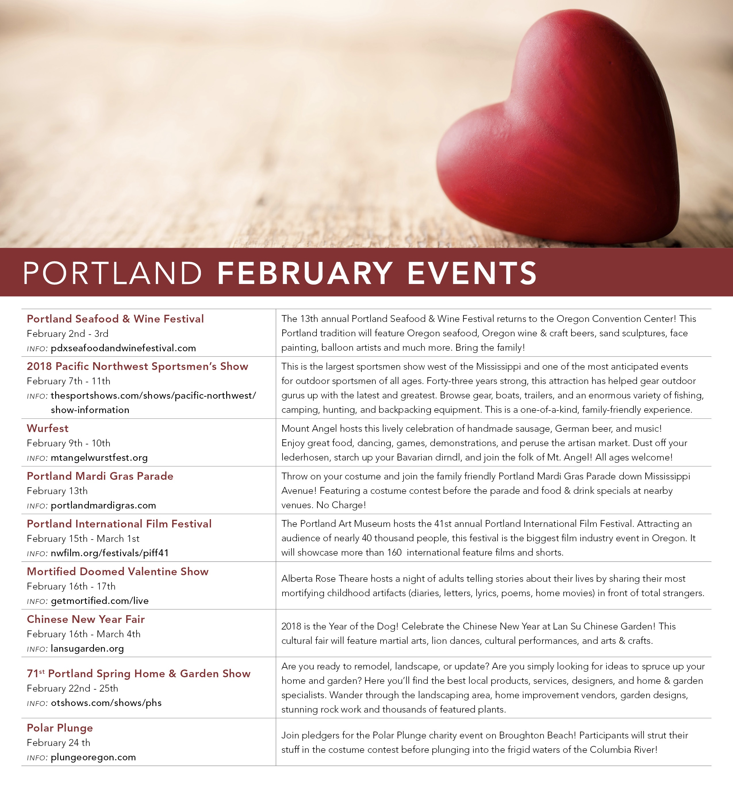 February Events are Here! | Shannon Dooley, Portland Oregon