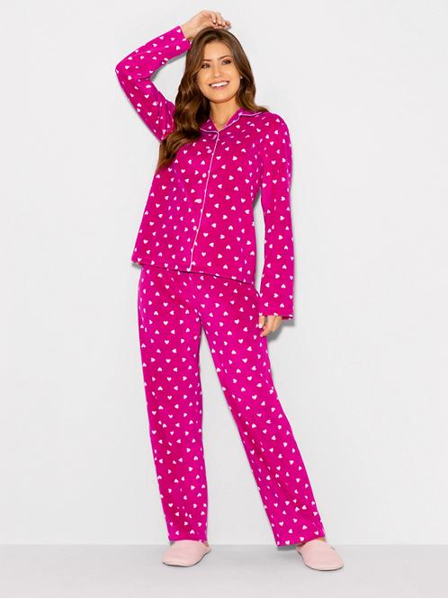 Pijama Longo Manga Longa Soft Sweet Pink Hearts