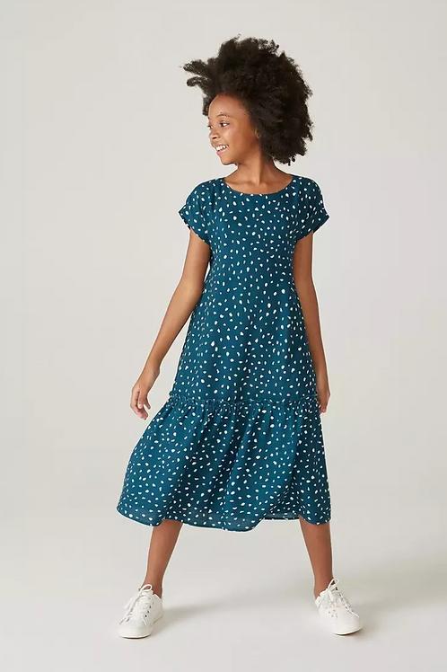 Vestido Infantil Evasê Midi Estampado Mini Me