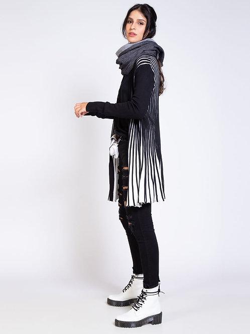 Cardigan Feminino Evasê em Tricot Bicolor